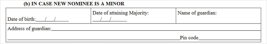 Sh-14 Form Step 2 for Nominee is A Minor