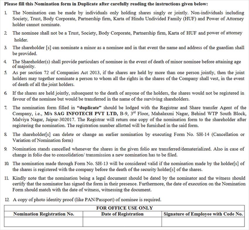 SH-13 Nomination Form Filing Instruction
