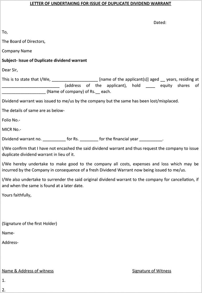 Letter Of Undertaking Form