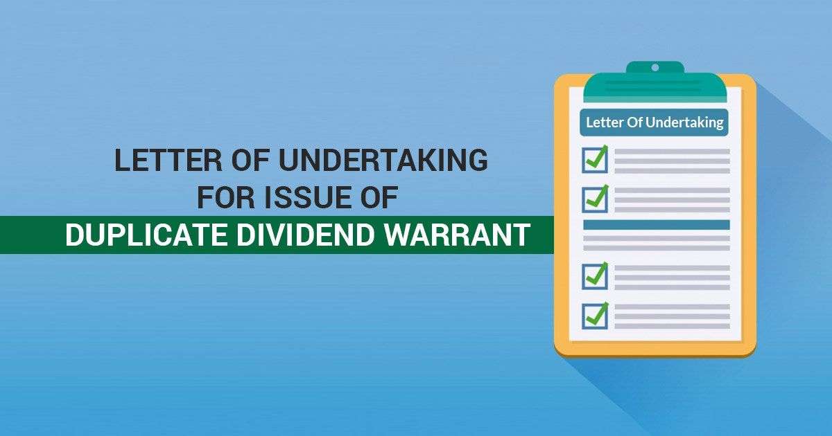 Letter Of Undertaking For Issue Of Duplicate Dividend Warrant