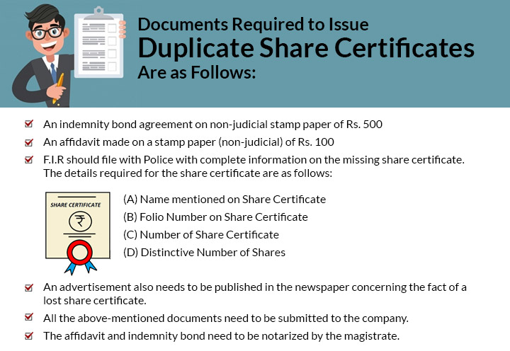 Documents Required to duplicate share certificates