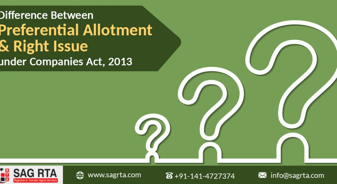 Difference Between Preferential Allotment & Right Issue under Companies Act, 2013